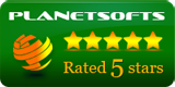 PlanetSofts 5 Stars Award.